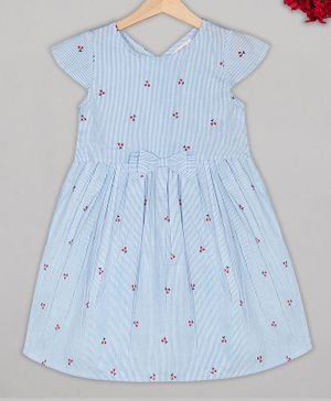Budding Bees Striped Cap Sleeves Cherry Embroidery Detailing Dress - Light Blue