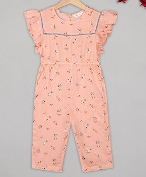 Budding Bees Cap Sleeves Floral Print Jumpsuit - Light Pink