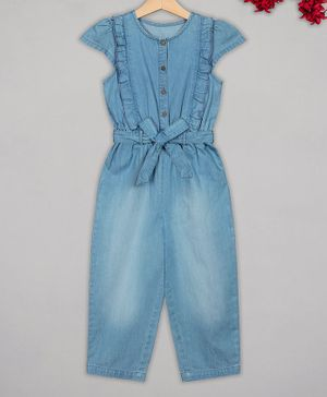 Budding Bees Cap Sleeves Solid Ruffle Detailing Jumpsuit - Blue