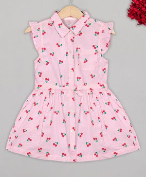 Budding Bees Cap Sleeves Cherry Printed Dress - Pink