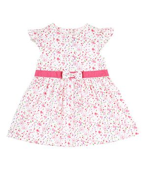 Budding Bees Cap Sleeves Heart Printed Dress - Pink & White