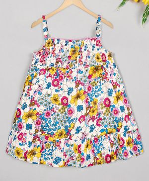 Budding Bees Sleeveless Floral Print Smocking Dress - Multi Colour