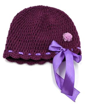 Magic Needles Solid Colour Hand Knitted Cap - Violet
