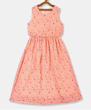 Cherokee Sleeveless Floral Print Fit & Flare Dress - Pink