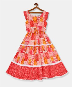 Cherokee Cap Sleeves Patch Print Fit & Flare Tiered Dress   - Red