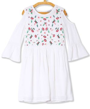 Cherokee Cold Shoulder Full Sleeves Floral Embroidery  Dress - White