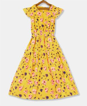 Cherokee Cap Sleeves Flower Print Fit & Flared Tiered Dress - Yellow