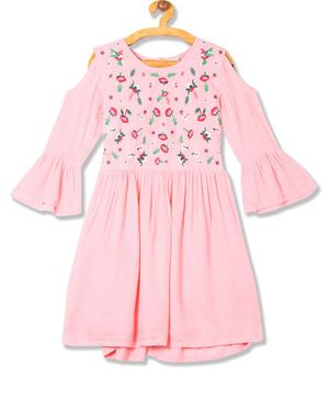 Cherokee Full Sleeves Floral Embroidery Fit & Flare Dress - Pink