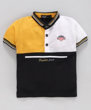 Tacos Half Sleeves Tri Color Block Polo T-Shirt - Mustard