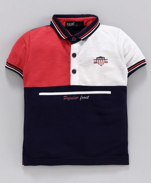 Tacos Half Sleeves Tri Color Block Polo T-Shirt - Red