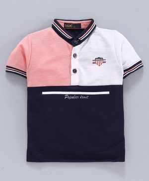 Tacos Half Sleeves Tri Color Block Polo T-Shirt - Peach