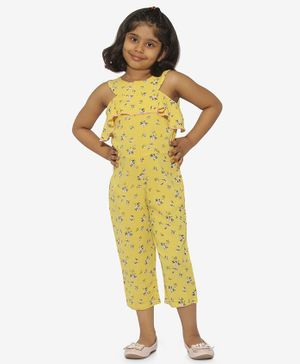 Stylo Bug Sleeveless Floral Print Jumpsuit - Yellow