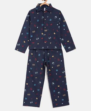 Stylo Bug Full Sleeves Cat Face Printed Night Suit - Navy Blue