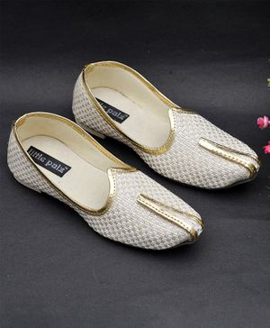 Little Palz Classic Basket Weave Pattern Mojaris - White