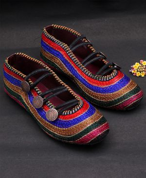Little Palz Contrast Color Blocked Knot Style Mojaris - Multi Color