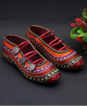 Little Palz Striped Pattern Embroidered Mojaris - Multi Color