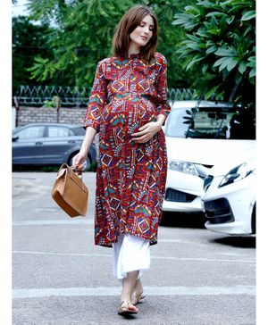 Mine4Nine Printed Three Fourth Sleeves A-Line Maternity Kurta - Red