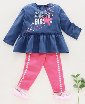 Babyhug Full Sleeves Top & Leggings Super Girl Print - Blue Pink
