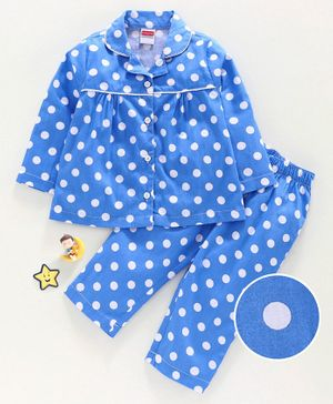 Babyhug Full Sleeves Polka Dot Night Suit - Blue