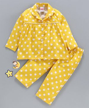 Babyhug Full Sleeves Night Suit Polka Dot Print - Yellow