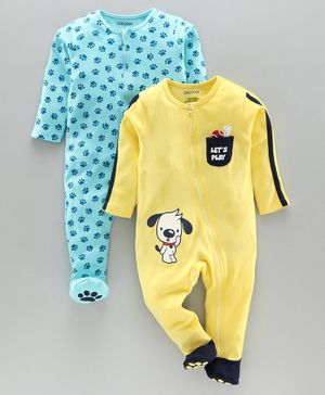 Babyoye Cotton Full Sleeves Footed Sleepsuits Puppy & Paw Print Pack of 2 - Yellow Blue