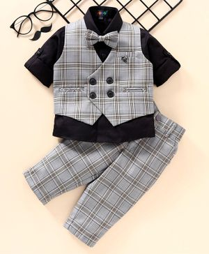 Robo Fry Full Sleeves 3 Piece Party Suit Checked - Grey Navy