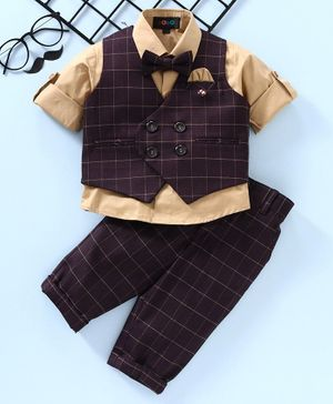 Robo Fry Full Sleeves 3 Piece Party Suit Checked - Beige Brown