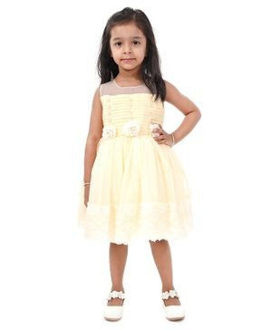 Babyhug Sleeveless Party Frock Floral Corsage - Yellow