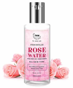 TNW THE NATURAL WASH Steam Distilled Rose Water/ Toner/ Makeup Remover (Free from Artificial Fragrance & Alcohol) - 100 ml