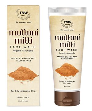TNW THE NATURAL WASH Multani Mitti Face Wash for Daily Use | Ayurvedic Wisdom of Sandal Wood, Aloe Vera, Kashmiri Kesar Face Wash for Oily skin to Normal skin For Men and Women (100 ml)