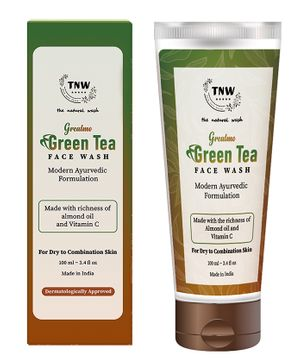 TNW THE NATURAL WASH Grealmo Face Wash Made with Richness of Almond Oil, Green Tea, Licorice, Kalonji, Padmaka Extract & Vitamic C For Dry to Combination Skin - 100 ml