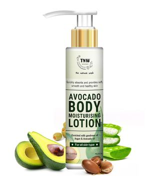 TNW THE NATURAL WASH Avocado Moisturizing Lotion With Argan Oil For Dry And Flaky Skin (Non-Greasy Paraben Free Formula) - 100 ml
