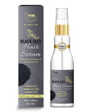TNW THE NATURAL WASH Black Seed Hair Serum For Smooth & Silky Hair Anti-Frizz Made with Natural Ingredients & Enriched with Essential Oils for Strong & Frizz-Free Hair Paraben Free 100 ml
