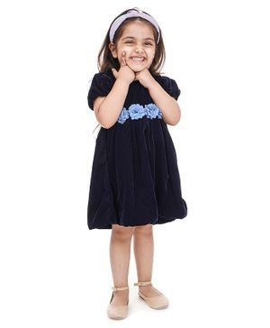 Babyoye Puff Sleeves Frock with Bloomers Floral Corsage - Navy Blue