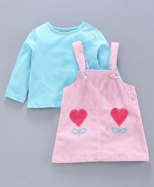 Babyoye Dungaree with Full Sleeves Inner Tee - Blue