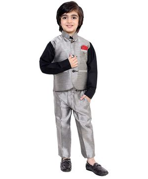Fourfolds 3 Piece Suit Set Full Sleeves Solid Shirt With Trouser & Waistcoat - Grey