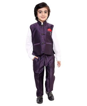 Fourfolds 3 Piece Suit Set Full Sleeves Solid Shirt With Trouser & Waistcoat - Purple