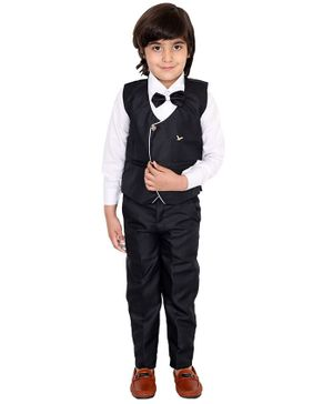 Fourfolds 3 Piece Suit Set Full Sleeves Solid Shirt  With Waistcoat Trouser & Bow Tie Set  - Black