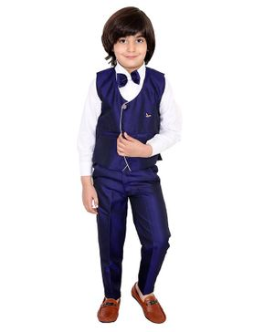 Fourfolds 3 Piece Suit Set Full Sleeves Solid Shirt  With Waistcoat Trouser & Bow Tie Set  - Blue