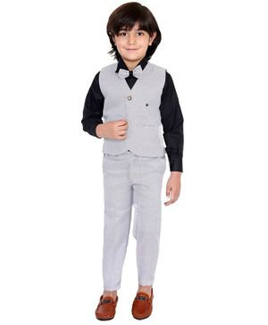 Fourfolds 3 Piece Suit Set Full Sleeves Printed Waistcoat With Shirt Trouser & Bow Tie  - Black
