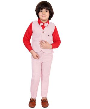 Fourfolds 3 Piece Suit Set Full Sleeves Printed Waistcoat With Shirt Trouser & Bow Tie  - Red