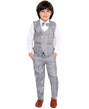 Fourfolds 3 Piece Suit Set Full Sleeves Checked Waistcoat  With Shirt Trouser & Bow Tie - White