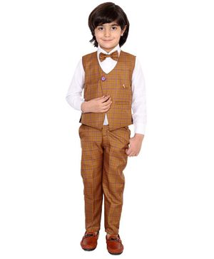 Fourfolds 3 Piece Suit Set Full Sleeves Checked Waistcoat With Shirt Trouser & Bow Tie  - Mustard