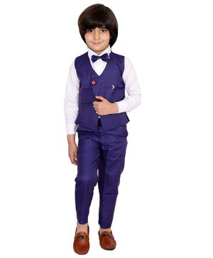 Fourfolds 3 Piece Suit Set Full Sleeves Checked Waistcoat With Shirt Trouser & Bow Tie  - Navy  Blue