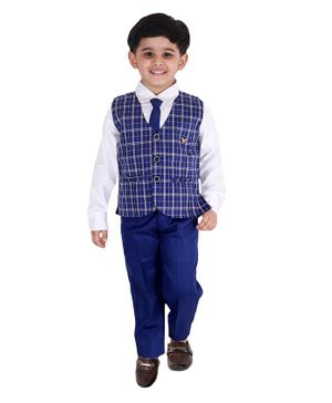 Fourfolds 3 Piece Suit Set Full Sleeves Checked  Waistcoat With Shirt Trouser & Tie - Blue