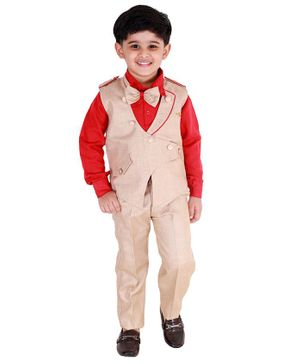 Fourfolds 3 Piece Suit Set Full Sleeves Solid Waistcoat With Shirt Trousers & Bow Tie - Red