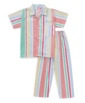 IndiUrbane Striped Half Sleeves Night Suit - Pink