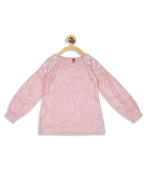 Blue Giraffe Full Sleeves Flower Lacey Top - Pink