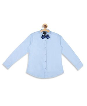Blue Giraffe Solid Full Sleeves Shirt With Bow Tie - Light Blue