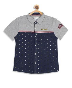 Blue Giraffe Half Sleeves Printed Shirt - Grey & Navy Blue